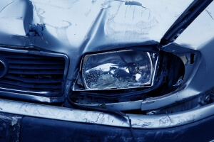 Car With Damage to Headlight from Accident