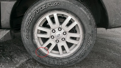 Used Tire with DOT Code Location Highlighted