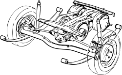 Line Drawing of Suspension System on Volvo